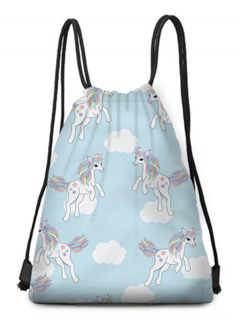 Critters Print Drawstring Backpack - SEA BLUE