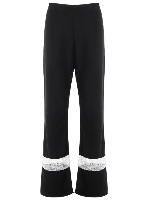 Lace Panel High Waisted Wide Leg Pants - BLACK S