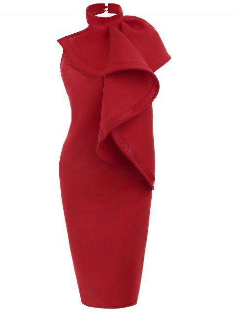Open Back Mock Neck Bodycon Party Dress - RED M