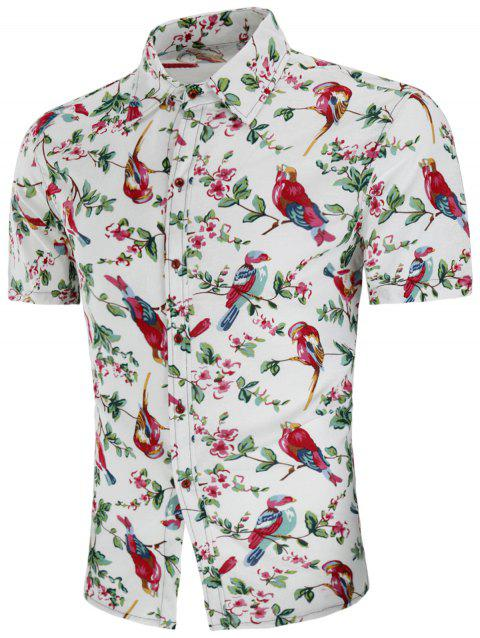 Turn-down Collar Chinese Style Bird Floral Print Shirt - multicolor 2XL