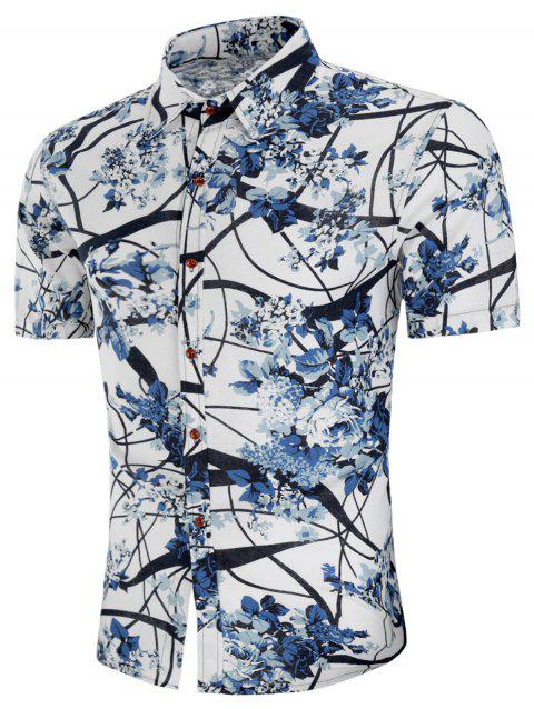Turn-down Collar Flower Tree Print Shirt - multicolor 3XL