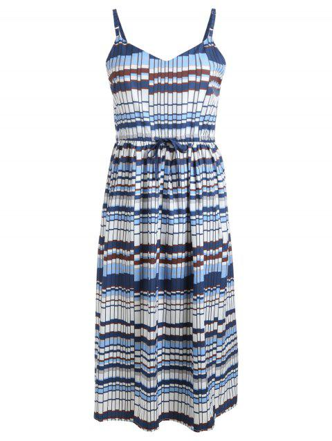 Bohemian Cami Printed Midi Dress - BLUE GRAY L