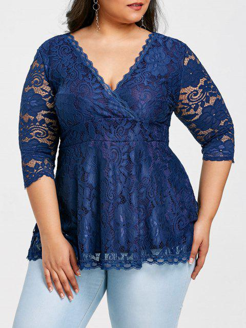 Empire Waisted Plus Size Lace Blouse - NAVY BLUE 1X
