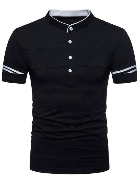 Half Button Short Sleeve  Stand Collar Henley T-Shirt - BLACK XL