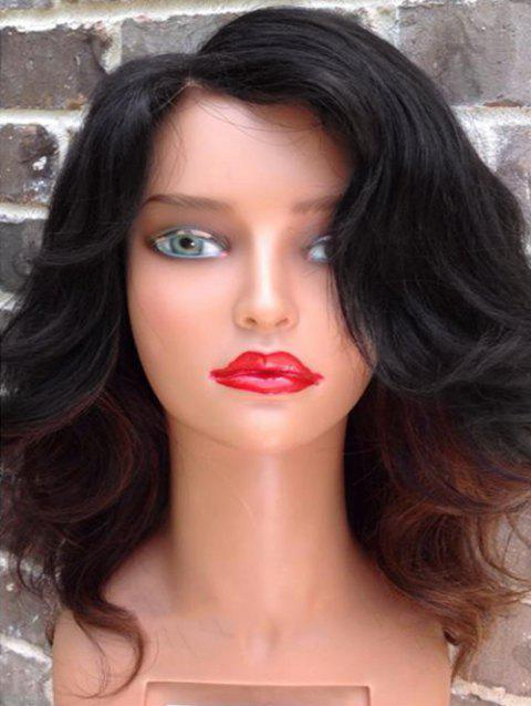 Side Parting Medium Colormix Wavy Synthetic Wig - BLACK