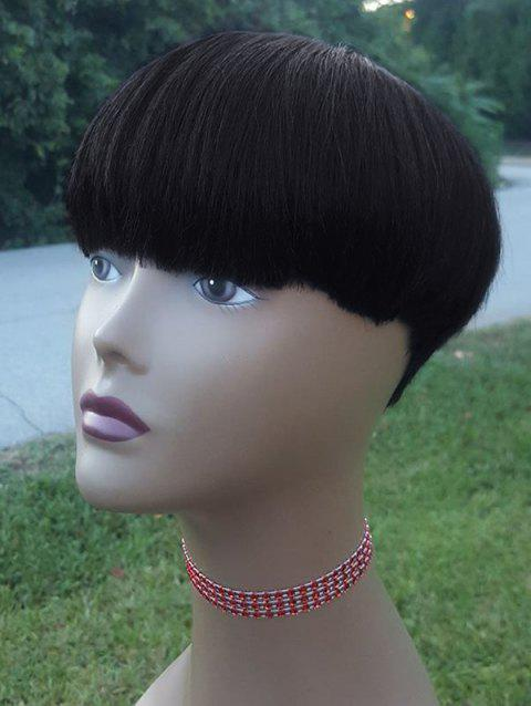 Short Straight Synthetic Wig with Neat Bang - BLACK