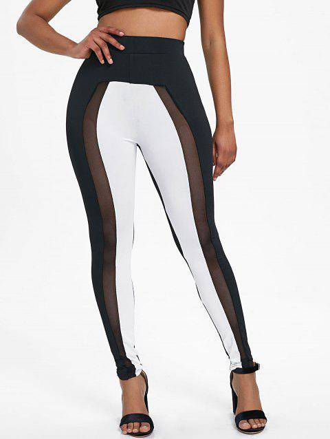 Hit Color Mesh Insert Tight Pants - COLORMIX L
