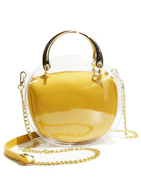 Transparent Oval Shape Waterproof Hand Bag with Chain Crossbody Bag - GOLDENROD