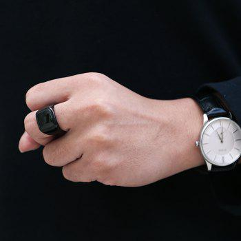 Geometric Round Finger Ring Jewelry for Man - BLACK 8