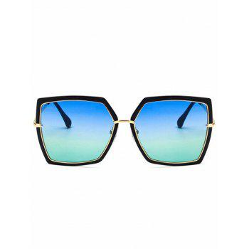 Metal Frame Flat Lens Square Sunglasses - BLUE RIBBON