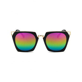 Anti Fatigue Hollow Out Metal Frame Sunglasses - multicolor