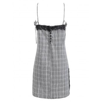 Plaid Backless Mini Cami Dress - GRAY M