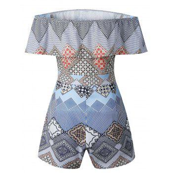Geometric Print Off Shoulder Romper - BLUE M