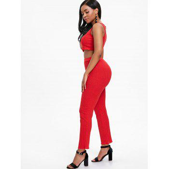Ribbed Knit Pants Two Piece Set - RED S