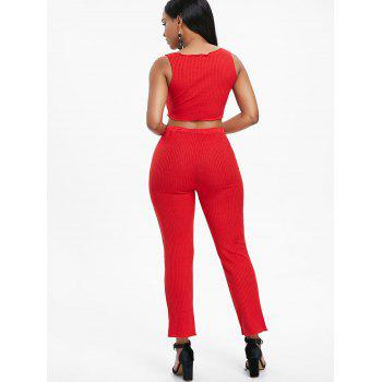 Ribbed Knit Pants Two Piece Set - RED L