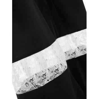 Lace Panel High Waisted Wide Leg Pants - BLACK L