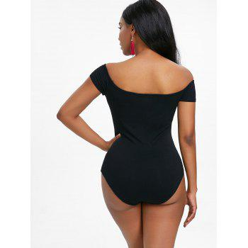 Embroidery Off The Shoulder Criss Cross Bodysuit - BLACK M