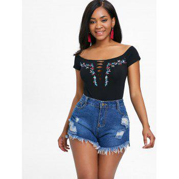 Embroidery Off The Shoulder Criss Cross Bodysuit - BLACK L
