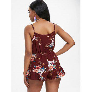 High Rise Print Surplice Romper - RED WINE S