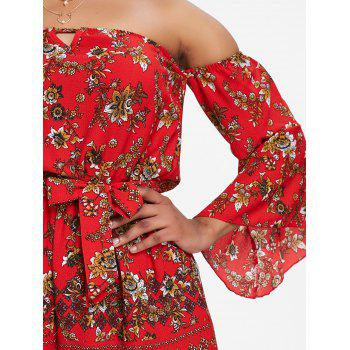Bell Sleeve Floral Off The Shoulder Playsuit - RED S