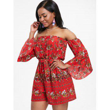 Bell Sleeve Floral Off The Shoulder Playsuit - RED M
