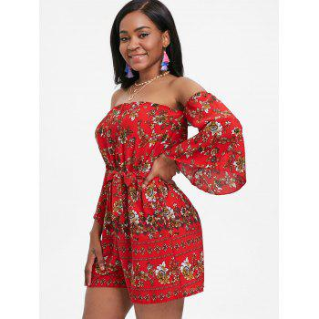 Bell Sleeve Floral Off The Shoulder Playsuit - RED XL