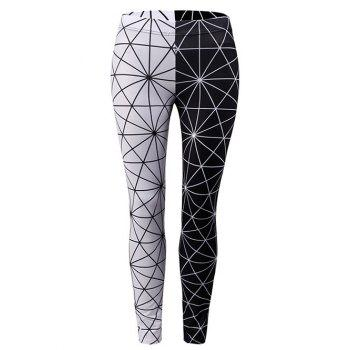 Color Block Spidernet Leggings - BLACK M
