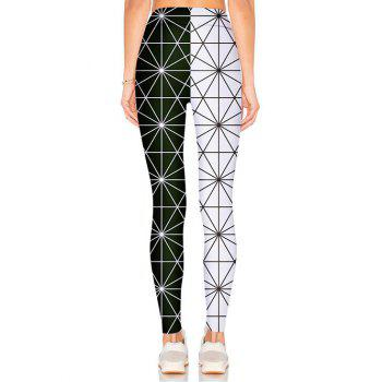 Color Block Spidernet Leggings - BLACK XL