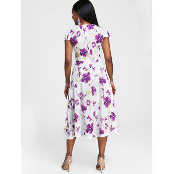 Cut Out Floral Print Mid Calf Dress - multicolor S