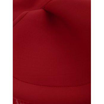 Open Back Mock Neck Bodycon Party Dress - RED L