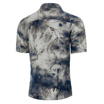 Turn-down Collar Chinese Ink Painting Shirt - multicolor L