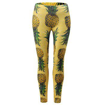 Pineapple Pattern Leggings - YELLOW M
