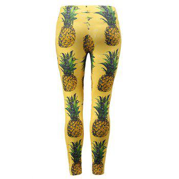 Pineapple Pattern Leggings - YELLOW XL