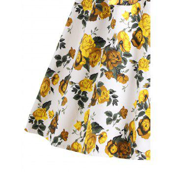 Floral Vintage Flare Dress - YELLOW XL