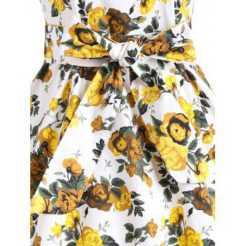 Floral Vintage Flare Dress - YELLOW 2XL