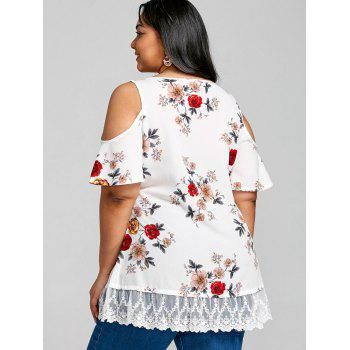 Floral Printed Plus Size Cold Shoulder Tunic Blouse - WHITE 1X