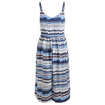 Bohemian Cami Printed Midi Dress - BLUE GRAY M