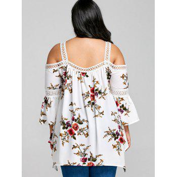 Plus Size Floral Printed Tunic Blouse - WHITE XL
