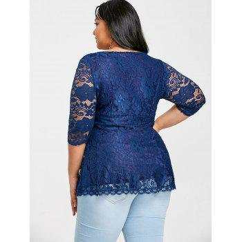 Empire Waisted Plus Size Lace Blouse - NAVY BLUE 2X