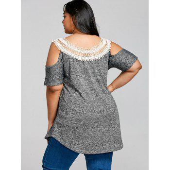 Lace Collar Plus Size Cold Shoulder T-shirt - GRAY L