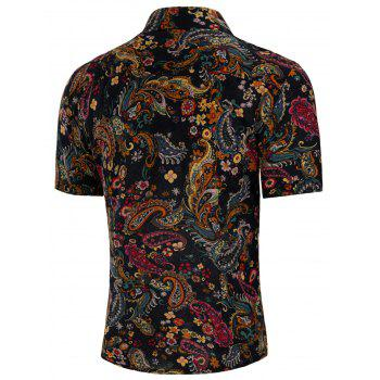 Short Sleeve All Over Floral Paisley Print Shirt - multicolor M