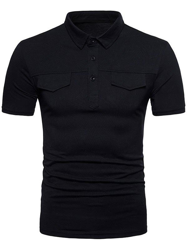 Turndown Collar Faux Pocket Solid Color T-shirt