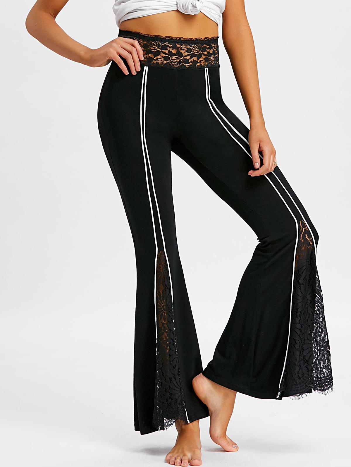 Lace Insert Bell Pants - BLACK 2XL