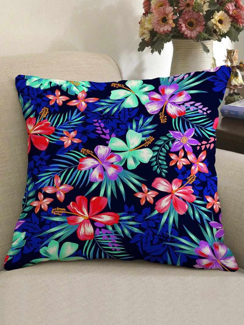 Tropical Flowers Pattern Linen Sofa Pillowcase - multicolor W18 INCH * L18 INCH