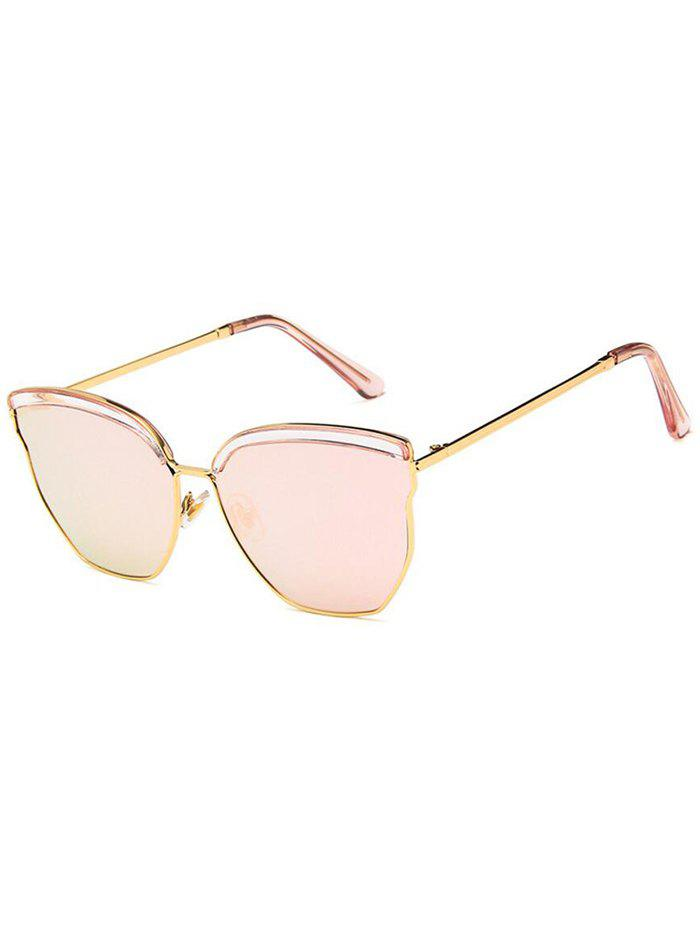 Anti UV Metal Frame Eyebrow Decorated Sunglasses - LIGHT PINK