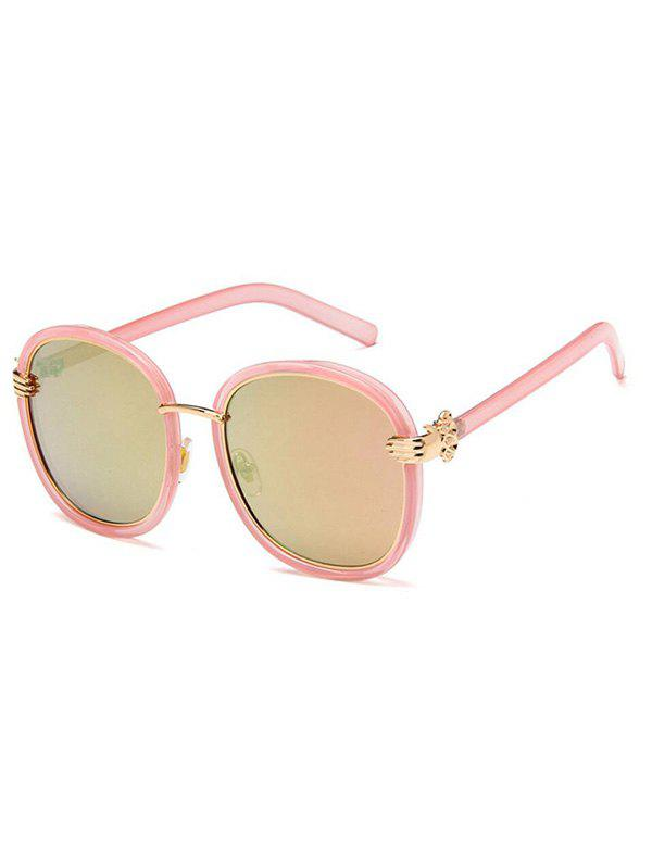 Anti UV  Metal Frame Oval Sunglasses - LIGHT PINK