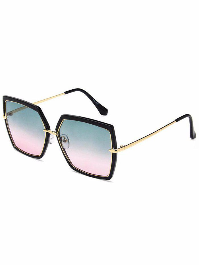 Metal Frame Flat Lens Square Sunglasses - multicolor