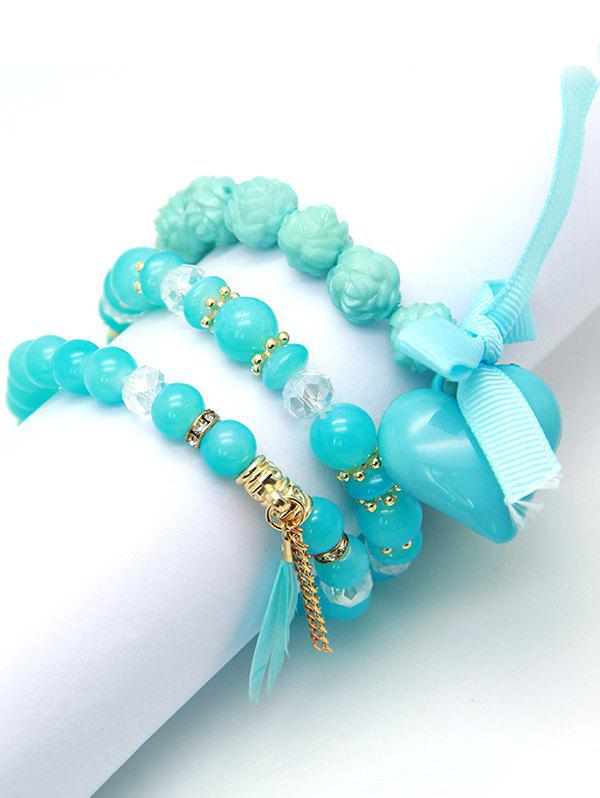 3 Layers Beads Heart Bowknot Feather Pendant Charm Bracelet - SKY BLUE