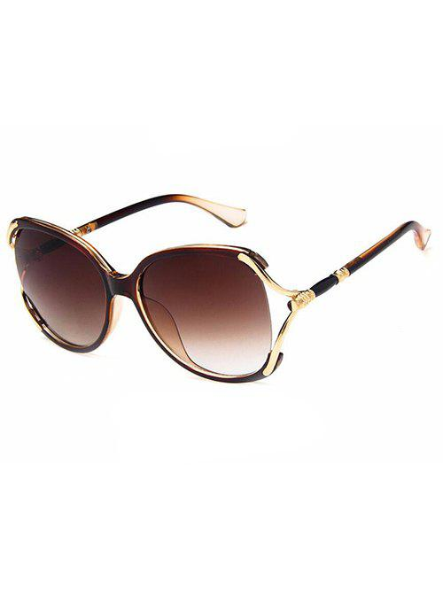 Hollow Out Oversized Sun Shades Sunglasses - COFFEE