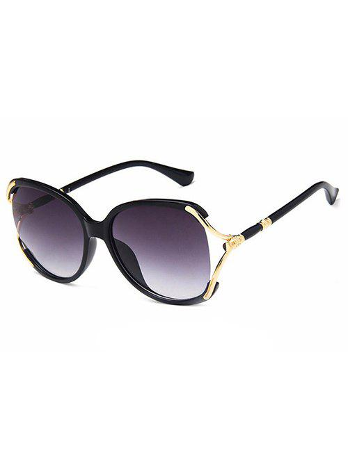 Hollow Out Oversized Sun Shades Sunglasses - BLACK